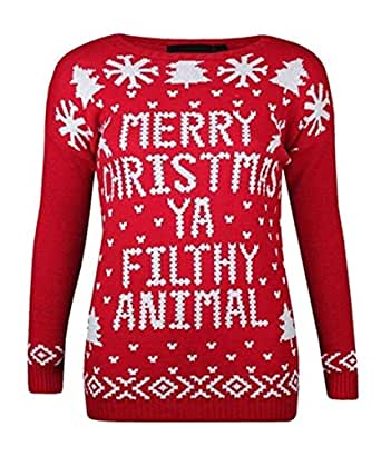 Mens Ladies Merry Christmas Ya Filthy Animal Novelty Retro Xmas Home Top Jumper (S/M, Red)
