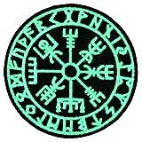 Vegvisir Wikinger Kompass Nordisch Rune Moral Taktisch Bestickter Glühen Im Dunklen Aufnäher mit Klettverschluss