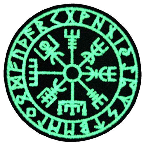 Vegvisir Wikinger Kompass Nordisch Rune Moral Taktisch Bestickter Glühen Im Dunklen Aufnäher mit Klettverschluss (Wikinger Kostüm Selbstgemacht)