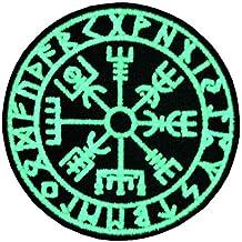 Vegvisir Viking Brújula Norse Rune Morale Táctica Resplandor en el parche oscuro Bordado de Aplicación con