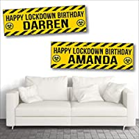 2 Personalised Birthday Banners - Lockdown Design 3 - Any Name or Any Requested Message (Approx 3ft x 1ft)