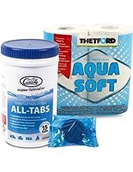 Camp 4 All Tabs Toilettentabletten 15 st für Abwassertanks + 4 Rollen Thetford Aqwuasoft für Wohnmobil & Boot