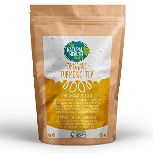 Organic Turmeric Tea Bags (10 Bags) By The Natural Health Market • Soil Association Certified Organic • 100% Turmeric Root • Curcuma Longa • Made With Unbleached Tea Bag Paper • Natural Herbal Tea