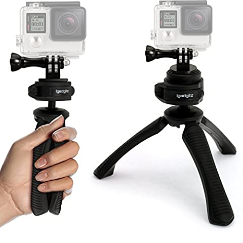 iGadgitz PT310 Mini Lightweight Table Top Stand Tripod and Grip Stabilizer + Adaptor Mount Thumb Screw & Nut for Sports Action