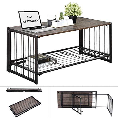 Tavolino pieghevole da salotto tavolino da salotto tavolo rettangolare stile industriale moderno assenza di montaggio metallo nero rustico legno marrone