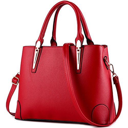 Crossbody Taschen für Frauen, EaseGave Trendy Elegant PU Leder Schulter Messenger Bags Winered