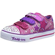 Skechers Shuffles Triple Up 10249L BKSP - Zapatillas de lona para niña