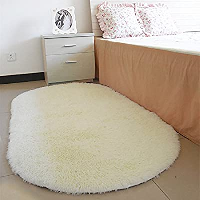 Oval Rug Anti-skid Absorbent Carpet for Living Room Bathroom Floor (White) - inexpensive UK light store.