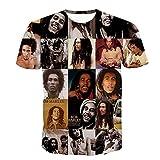 HTMXGBLA Magliette in Cotone da Uomo/Magliette da Uomo Reggae Bob Marley Stampa 3D Uomo T-Shirt Uomo Casual Maglietta Hip Hop Estivo Top