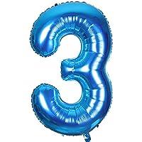 Smarcy Globos Número 3 Decoración de Cumpleaños 3 Años Fiesta de Cumpleaños (Azul)