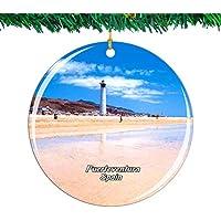 Weekino España Fuerteventura Navidad Ornamento Ciudad Viajar Recuerdo Colección Doble Cara Porcelana 2.85 Pulgadas Decoración de árbol Colgante