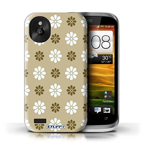 Kobalt® Imprimé Etui / Coque pour HTC Desire X / Vert conception / Série Motif avec pétales Beige