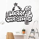 Geiqianjiumai Frohe Weihnachten Applique Funny Santa Weihnachtsbaum Glasfenster Wand Art Deco...