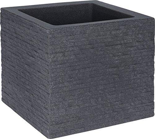 Kunststoff Blumentopf grau 27x27cm - Pflanztopf in Stein Optik - Blumenkübel Pflanzkübel eckig