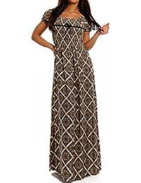 Damen Maxikleid Kleid Carmen Ausschnitt Kleid Lang