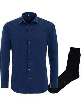 ETERNA Herrenhemd Slim Fit, blau, Print + 1 Paar hochwertige Socken, Bundle