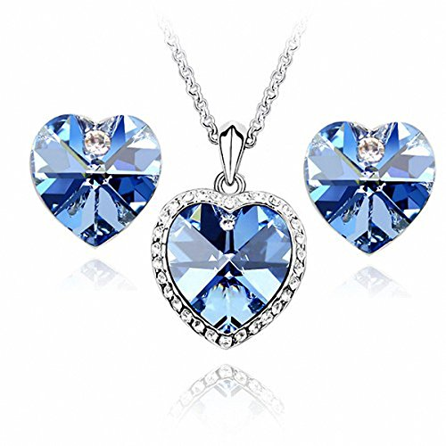 GoSparking Aquamarine Blue Crystal 18K White Gold Plated Alloy Heart Earrings & Pendant Set with Austrian Crystal For Women ST48100