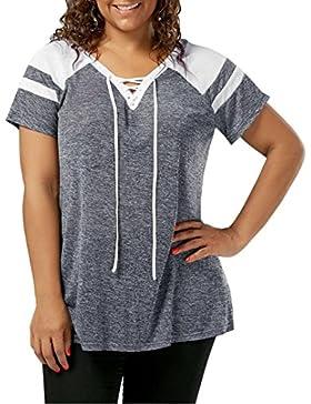 Yeamile💋💝 Camiseta de Mujer Tops Suelto Blusa Causal Camisetas Ocasionales Camiseta de Manga Corta Camisa Gris...