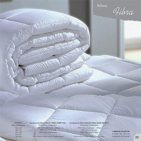 Mila Rosa 11505 - Relleno nórdico de fibra hueca siliconada, 240 x 220 cm, color blanco