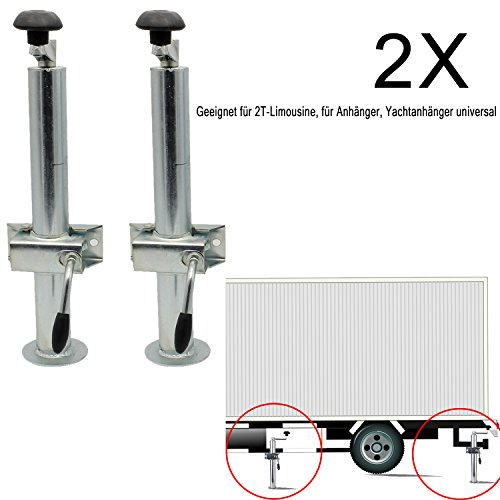Forever Speed Abstellstütze Anhängerstütze 48mm Ausfahrbar 480-690mm Klemmhalter Metall Halterung Anhänger 2T (2 Stück)