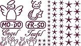 Autoaufkleber Sticker Aufkleber Set für Auto Schriftzug Engel Mo-Do Fr-So Teufe (048 bordeaux)