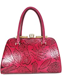 Satispac Women'S Embossed Vintage Rhinestone Clasp Closure Tote Handbag (Red)