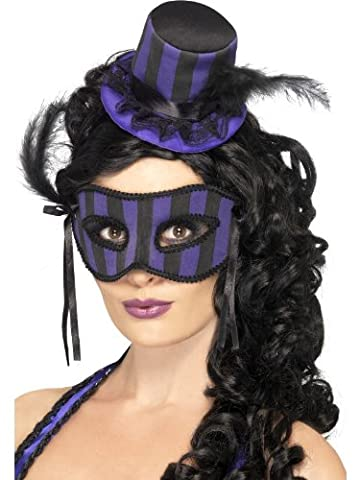 Smiffy's Grotesque Burlesque Hat and Eyemask Set Striped with Feather - Purple/Black