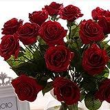 Ukallaite - Ramo de rosas artificiales para decoración de hogar, jardín, color blanco y rosa, rojo vino