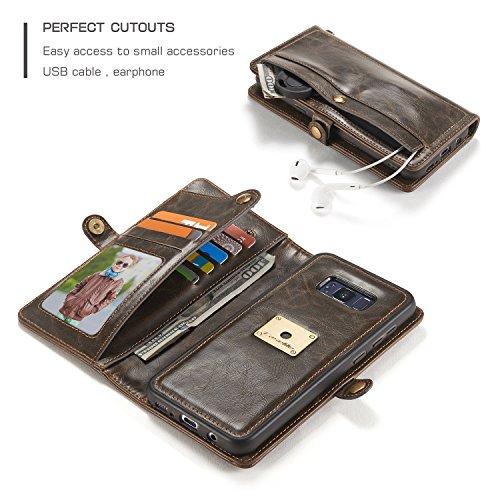Handy-Hüllen & Hüllen, CaseMe Für Galaxy S8 Plus Wallet Case [Retro Style] [Handgelenk Armband] Für Samsung Galaxy S8 + / s8 plus Card Case (2017) Premium Schutzmaßnahmen PU Leder Flip Magnetic Cover  Braun