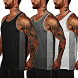 COOFANDY Tank Top Herren Set Fitness Muskel Shirt Bodybuilding Training Sport ärmelloses T-Shirt 3er Pack