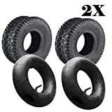 JUEYAN Lot de 2 pneus pour tondeuse à gazon 15 x 6.00-6 TL 2PR pour tracteur...
