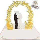 PaperCrush® Pop-Up Hochzeitskarte Brautpaar - Besondere 3D Karte, Glückwunschkarte zur Hochzeit - Handgemachtes Hochzeitsbillet inkl. Umschlag