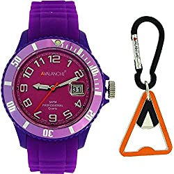 Avalanche Ladies Purple Date Silicone Sports Watch with Carabiner Bottle Opener