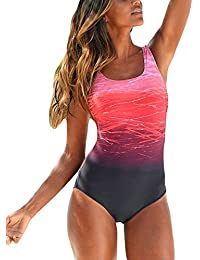 Leslady Badeanzug Damen Bauchweg Figurformend Push up Große Größen Sportlich Beachwear Bademode Strandmode