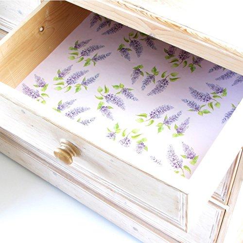 Lilas tiroir et étagères parfumés. 5 feuilles. Fabriqué en Suffolk, Angleterre.