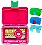 Yumbox XS Mini Snackbox (Cherie Pink) - Kleine Kinder Bentobox, 3 Fächer - Brotdose mit Unterteilung für Krippe, Kita oder kleinen Snack Unterwegs