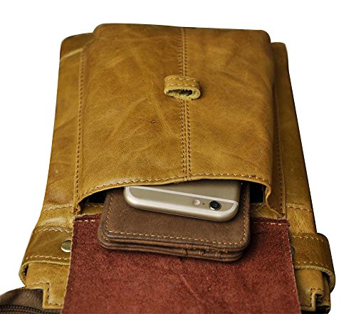 Genda 2Archer Vintage Carrying Reise Umhängetasche Gürtel Hüfttasche Khaki