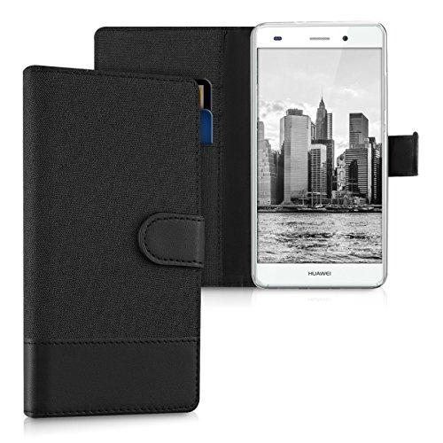 kwmobile Wallet Case Canvas Hülle für Huawei P8 Lite - Flip Tasche mit Kartenfach und Ständer in Anthrazit Schwarz