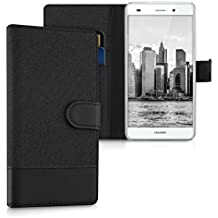 kwmobile Funda para Huawei P8 Lite (2015) - Wallet Case plegable de cuero sintético - Cover con tapa tarjetero y soporte en antracita negro