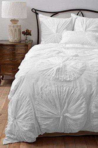 Set Blumen Rüschen SCALABEDDING mit Kissenbezügen Extra 800TC ägyptische Baumwolle 5-teiliges Bettbezug Set König weiß -
