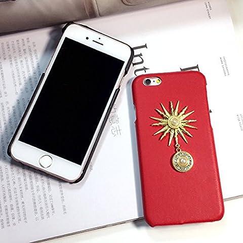iPhone 6 Plus/6s Plus Custodia, iNenk® Perla pendente metallo Titan Striae Telefono Shell adatta marea rossa dura PC Sole scintillio Cover Design per Apple iPhone 6 Plus/6s Plus-Rosso