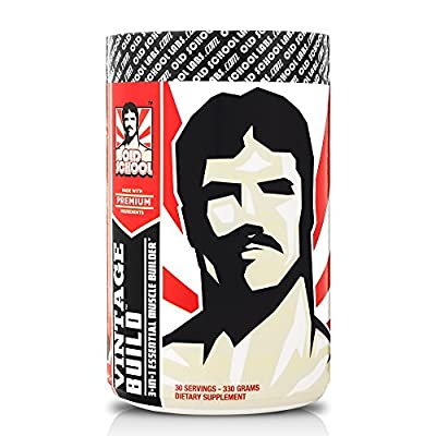 VINTAGE BUILD - The Essential 3-in-1 Muscle Builder - Post Workout Recovery with BCAA, Creatine Monohydrate, and L-Glutamine Powder (Fresh Berries), 330 Grams, 30 Servings from Old School Labs