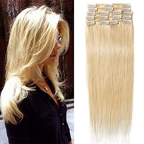 """TESS Extensions Echthaar Clip in Blond #613 Remy Haar Extensions guenstig Haarverlängerung 18 Clips 8 Tressen Lang Glatt, 24""""(60cm)-80g"""