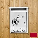 ilka parey wandtattoo-welt® Wandtattoo Briefkastenaufkleber Aufkleber Sticker Blume Pusteblume mit Familiennamen Wunschnamen M1877 ausgewählte Farbe: *kirschrot* ausgewählte Größe: *S - 25cm breit x 28cm hoch*