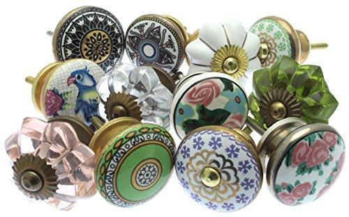 Mélange Lot de Shabby Chic Style Vintage poignées pour placards céramiques x Pk 12 (MG-261) - 'Vintage-Chic' TM Produit