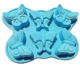 Pure Vie® 6er Silikon Backform / Muffinform für Muffins, Brownies, Cupcakes, Kuchen, Pudding, Eiswürfel und Gelee - Schmetterling, farblich sortiert