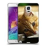 Just Phone Cases Schutz Hülle TPU Case Schutzhülle Silikon Tasche Dünn Transparent // V00004287 Katze liegend auf Holzbrettern // Samsung Galaxy Note 4 IV