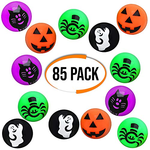 The Twiddlers 85 Pelotas Saltarinas - Diseño de Halloween - Ideal para Regalos de Fiesta, Piñatas, Bolsas Sorpresa - Dulce o Travesura