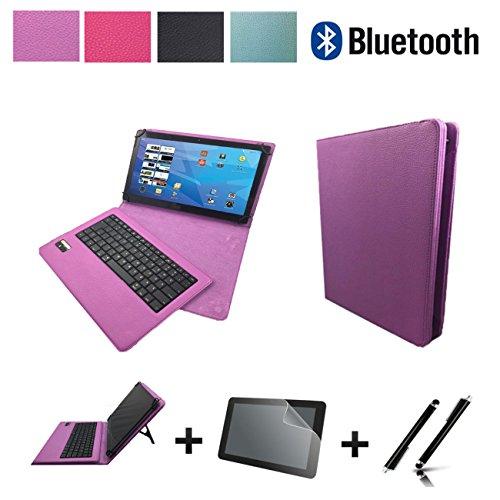 3in1 Starter set für ARCHOS 101b Xenon Bluetooth Tastatur Hülle | Schutz Folie| Touch Pen | 10.1 Zoll Lila Bluetooth 3in1
