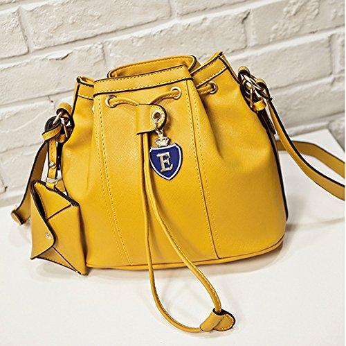 SHUhua koreanische Art- und Weiseeimer-Beutel-Frauen-Schulter-Beutel yellow